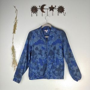 Juicy Couture Floral Print Denim Bomber Jacket